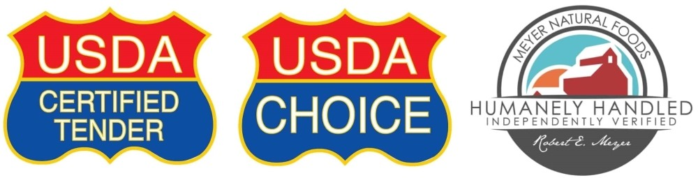 Six Industry Seals of Approval, Heartcheck.org, Humanely Handled, Guaranteed Tender, Laura's, USDA Organic, USDA Choice